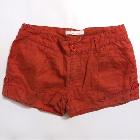 Forever 21 Pants - Forever 21 Orange Linen Casual Shorts sz S
